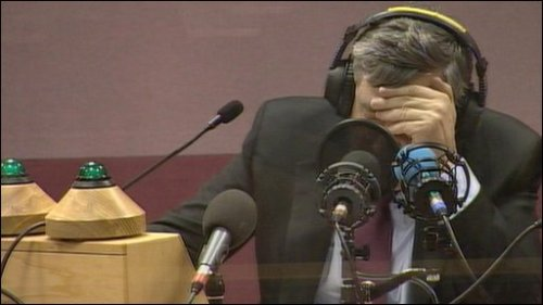 Gordon Brown discovering that he had been recorded calling a member of the public 'a bigoted woman'... (source: bbc)