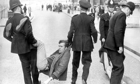 1969 - arrested in Downing Street during anti-apartheid protests (source: guardian.co.uk)