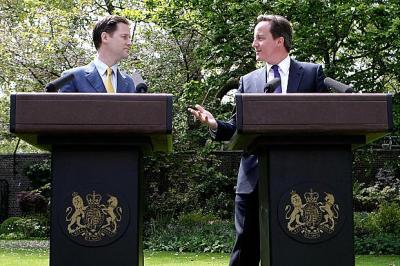 Nick Clegg and David Cameron, the coalition leaders 'you never promised me a rose garden...'