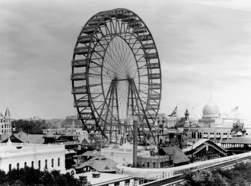 The world's first Ferris Wheel - 250' in diameter and carrying 2,160 people at a time
