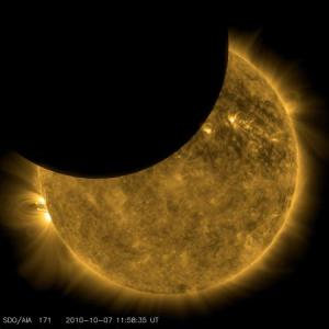 The Moon partially eclipsing the Sun - imaged by NASA's Solar Dynamic Observatory (SDO)