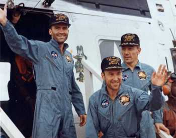The crew - Fred Haise, Capt James Lovell and John Swigert