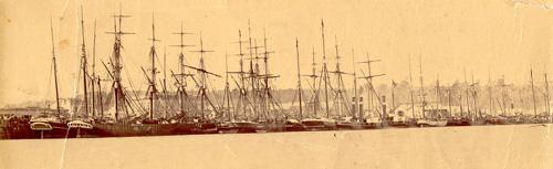 The river port at Hokitika during the goldrush