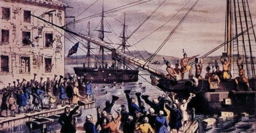 """The Destruction of Tea at Boston Harbor"" - 1846 lithograph by Nathaniel Currier of what later became known as the Boston Tea Party."