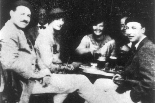 Ernest Hemingway with friends (and alcohol), during the July 1925 trip to Spain that inspired The Sun Also Rises