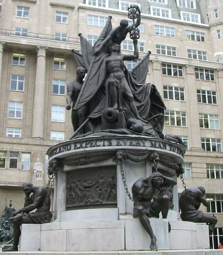 The strange and macabre Nelson Monument in Liverpool - the first public sculpture to be erected in the city at the height of its prominence as a major trading hub of the Empire. Along with a nude nelson, there are four prisoners in chains (representing Nelson's major battles apparently, but somehow more resonant now of the city's involvement in the slave trade...)
