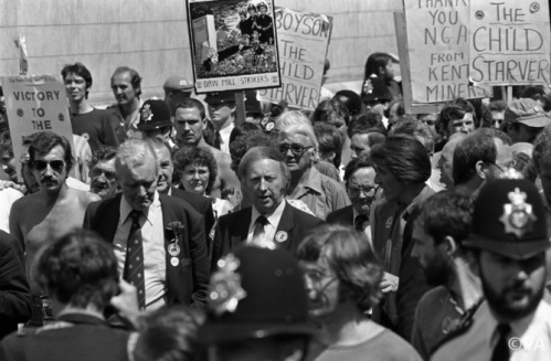Tony Benn, Arthur Scargill and Dennis Skinner in the Miners' Strike