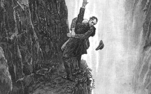 Holmes and Moriarty at Reichenbach Falls - by Sidney Paget