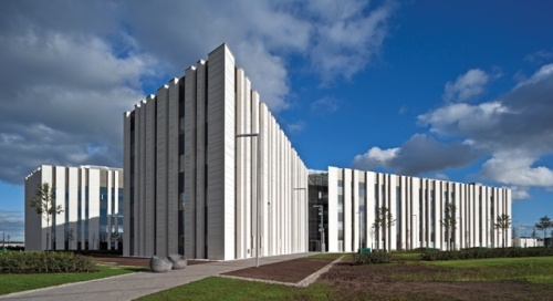 The new Scottish Crime Campus - McDermid tells us it's in the shape of a human chromosome and the barcode effect is meant to represent DNA. Hmm!