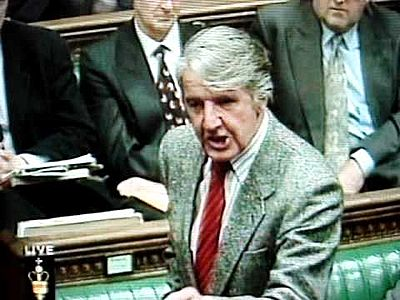 A youngish Dennis Skinner in the House of Commons. Plus ça change...