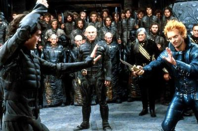 Yes, that is Sting playing nasty Feyd-Rautha and look! Capt Jean-Luc Picard himself appearing as Gurney Halleck!  (I've really got to watch this film again...soon!)