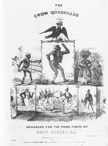 Sheet music cover featuring common minstrel show characters, including Jim Crow (top center), a wench (top right), Zip Coon (bottom left), black soldiers (bottom center), and Dandy Jim (bottom right).
