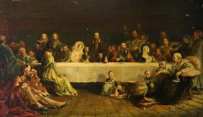 Knox dispensing the Sacrament at Calder House by Thomas Hutchison Peddie
