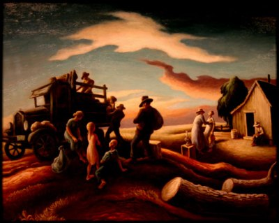 """Departure of the Joads"" by Thomas Hart Benton 1939"