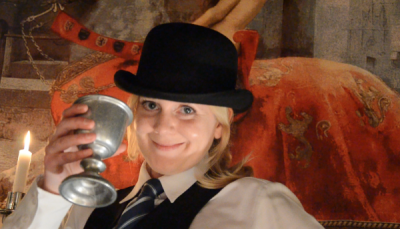 Lucy Brazier - with Deputy Head Porter's trademark bowler hat and wine!