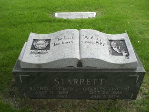 Vincent Starrett's Gravestone - one feels perhaps fandom can sometimes be taken too far...