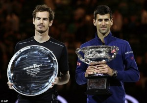 Andy Murray, defeated finalist, with winner, Novak Djokovic. (Whoever cleaned that tray really needs to have an eye-test...)