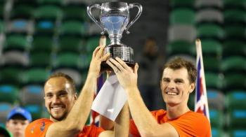 Jamie Murray, winner of the Mens Doubles, with his partner Bruno Soares