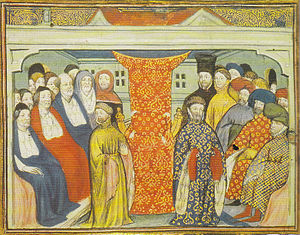 Henry of Bolingbroke, flanked by the lords spiritual and temporal, claims the throne in 1399. From a contemporary manuscript, British Library, Harleian Collection, via Wikipedia