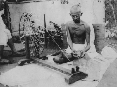 Gandhi with his beloved spinning wheel...