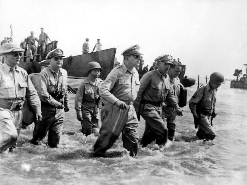 MacArthur striding ashore at the amphibious landing at Leyte, Philippines - a picture his detractors claim he staged.