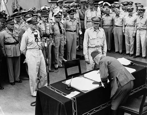 General MacArthur, in behalf of the Allies, accepting the Japanese surrender on September 2, 1945