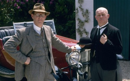 Peter Davidson as Campion and Brian Glover as his manservant Lugg in the TV adaptation