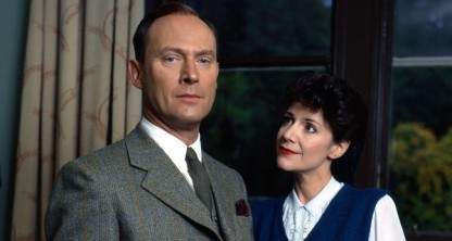 Patrick Malahide in the BBC's Inspector Alleyn Mysteries, with Belinda Lang as Agatha Troy