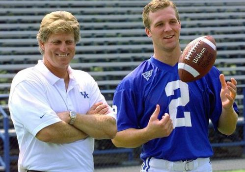 Hal Mumme with Tim Couch, then coach and QB of University of Kentucky Photo credit: Ed Reinke/AP