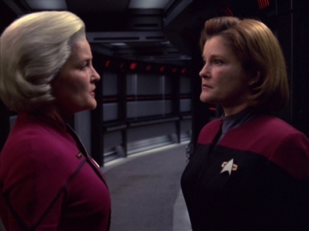 "Captain Janeway: ""Time travel. Since my first day on the job as a Starfleet captain I swore I'd never let myself get caught in one of these godforsaken paradoxes - the future is the past, the past is the future, it all gives me a headache."""