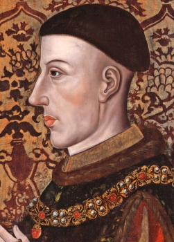 Henry V - artist unknown. Vale speculates that the portrait is in profile because the right side of his face would be disfigured after the wound he received at the battle of Shrewsbury...