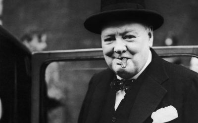 Churchill with his beloved cigar...