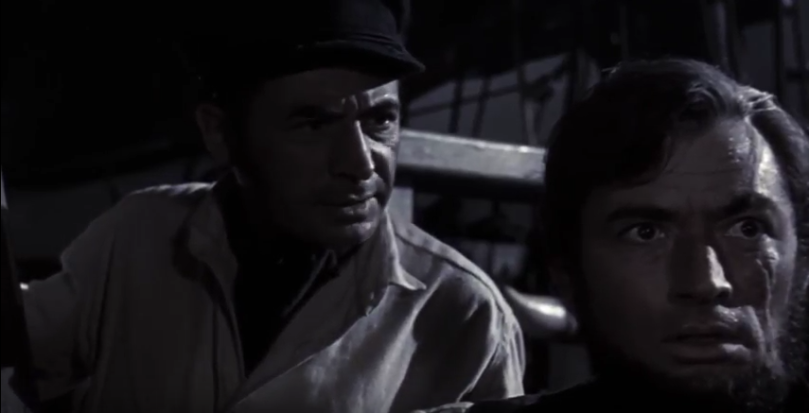 Gregory Peck as Captain Ahab and Leo Genn as Starbuck