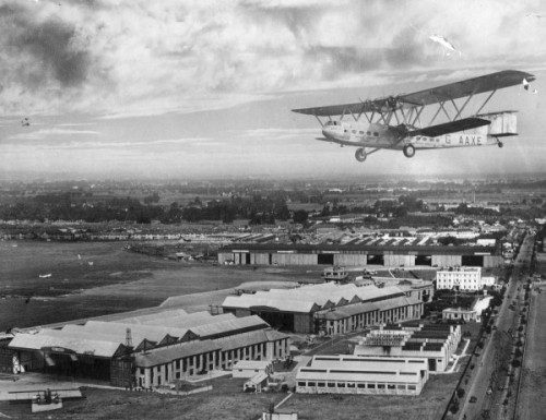 """""""Hengist"""" flying over Croydon airfield - the very plane in which Rose flew to Paris..."""