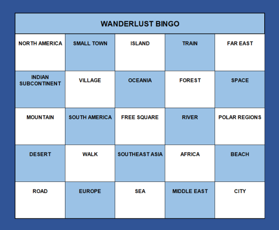 A bingo card with 25 boxes containing regions of the world, methods of travel and geographical features.